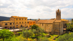Monteriggioni town with blue sky background stock photo