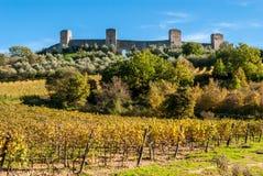 Monteriggioni Tuscany, Italien Arkivfoton