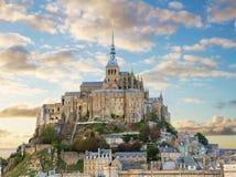Montering av Mont Sanktt Michel, Frankrike Arkivfoto