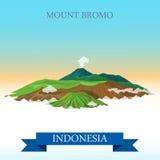 Montering Bromo i dragning för Indonesien vektorlägenhet royaltyfri illustrationer