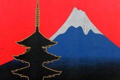 Montering Fuji drawed i den Berlin väggen Arkivbild