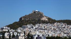 Montering Lycabettus i Athens arkivbilder