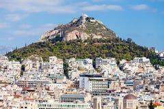 Montering Lycabettus i Athens Royaltyfria Foton