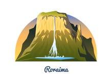 Montering Roraima Maxima landskap tidigt i ett dagsljus lopp eller campa och att klättra Utomhus- kulleblast i Venezuela som är s vektor illustrationer
