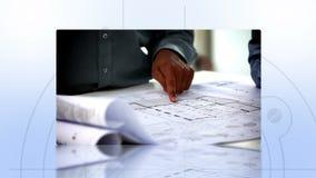 Montering van architecten op het werk stock footage