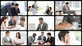 Montering van assertieve zakenlieden op het werk stock videobeelden