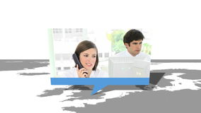 Montering van de internationale arbeiders van de klantendienst stock footage
