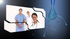 Montering van diverse medische arbeiders stock video