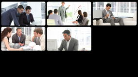 Montering van ernstige zakenlieden op het werk stock footage