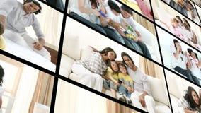 Montering van familie thuis stock video