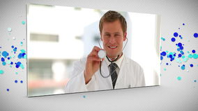 Montering van gelukkig medisch personeel stock video
