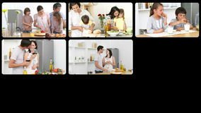 Montering van Kaukasische families in de keuken stock videobeelden