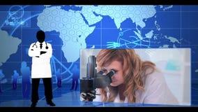 Montering van laboratroy onderzoek stock footage