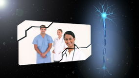 Montering van medische arbeiders met draaiende herseneninleiding stock video