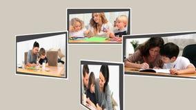 Montering van paren die goede tijd met hun kinderen hebben stock videobeelden