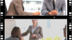 Montering van verschillende bedrijfssituaties stock videobeelden