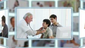 Montering van verschillende soorten algemeen medische onderzoeken stock video