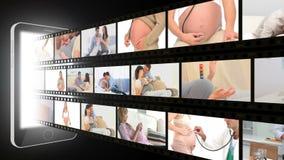 Montering van zwangere paren stock video