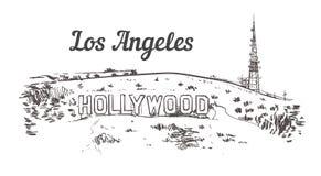 Monteringen Hollywood skissar Illustration för vektor för tappning för Los Angeles hand utdragen vektor illustrationer