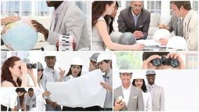 Monteringlengte van een vergadering van architecten stock videobeelden