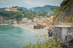Monterosso, Cinque Terre,利古里亚, Monterosso海滩的Italy.Fish眼睛视图与享受星期日Monterosso的人的是一个被认可作为科教文组织世界遗产站点的五Cinque Terre村庄 免版税库存图片