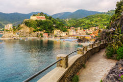 Monterosso al Mare in the Cinque Terre, Italy. Seen from the coastal hiking trail Royalty Free Stock Photo