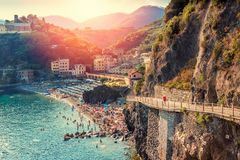 Monterosso, Cinque Terre, Italy. Summer sunset view of Monterosso, Cinque Terre, Italy royalty free stock photography