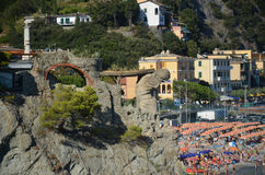 Monterosso Cinque Terre. Liguria. Sea and beach in Northern Italy, Cinque Terre, UNESCO SITE and Natural Reserve Stock Images