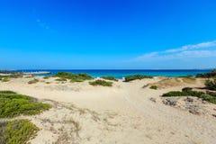 Beach Punta della Suina, Salento, Italy. Picturesque Ionian sea beach Punta della Suina, Salento, Puglia, Italy. Gallipoli town view in far royalty free stock image