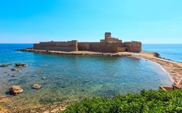 Aragonese castle of Le Castella, Calabria, Italy. Aragonese castle of Le Castella (build in 474 BC), a fortress on a small islet on Ionian Sea coast Stock Photo