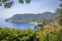 Monterosso (New Town) in Cinque Terre, Italy. Hiking trail through the vineyards from Monterosso to Vernazza Royalty Free Stock Image