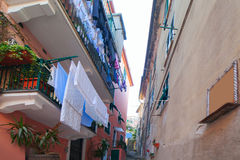 Monterosso street, Cinque terre, Italy. Royalty Free Stock Images