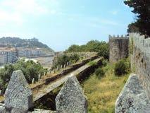 Monterreal-Schloss ist ein Schloss in Ria de Vigo und im Tal des Minderjährigen, Galizien, Spanien stockbild