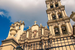Monterrey Mexico Cathedral. 10 10 2016 / Photograph of an old stone catholic church facade of Cathedral of Monterrey Mexico Royalty Free Stock Photo