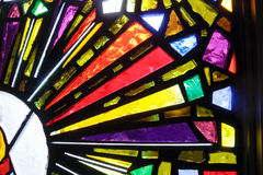 MONTERREY,NUEVO LEON / MEICO - 01 02 2017: Basilica de Guadalupe. Photograph of a stained glass window detail in Basilica de Guadalupe in Monterrey Mexico Royalty Free Stock Image
