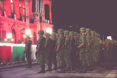 Mexican soldiers at independence celebration Royalty Free Stock Image