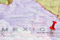 Monterrey pinned on a map of America. Photo of pinned Monterrey on a map of America. May be used as illustration for traveling theme Royalty Free Stock Photography
