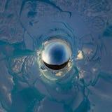 Montes azuis do gelo Baikal no por do sol de Olkhon Panorama 360 esférico pouco planeta Fotografia de Stock Royalty Free