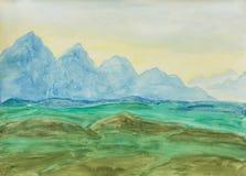 Montes azuis, pintando Imagens de Stock
