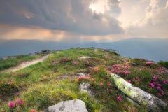 Montes da montanha no por do sol nebuloso imagens de stock