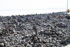 Montes de pedras sintéticos em Reykjavik, Islândia Imagens de Stock