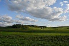 Montes de verde da beleza sob nuvens fotografia de stock