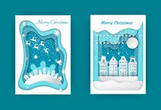 Montes dos cartão do Feliz Natal, casas, abetos vermelhos ilustração stock