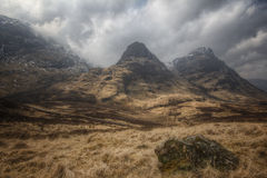 Montes nevado em Glencoe Fotos de Stock Royalty Free