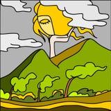 Montes no vento ilustração do vetor