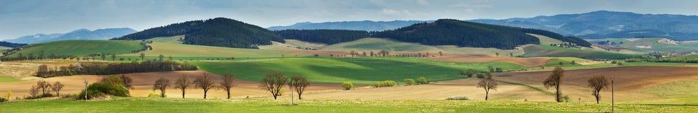 Montes verdes da mola em Eslováquia Panorama ensolarado do campo de abril imagem de stock