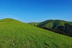 Montes verdes e céu azul foto de stock