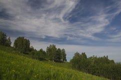 Montes verdes no vale da montanha e no céu nebuloso Imagem de Stock Royalty Free