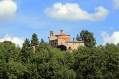 Montesiepi #7. Outside view of Montesiepi's hermitage with chapel and bell tower, in San Galgano, Siena Stock Photography