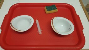Free Montessori Activity With Syringe And Water On The Tray Stock Photo - 197636030